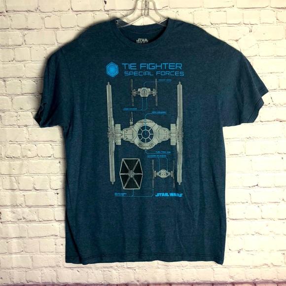 Star Wars Men's BlueTie-Fighter Tee. Size XL